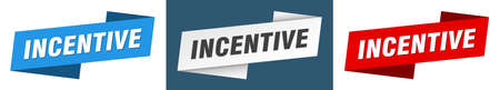 incentive ribbon label sign set. incentive banner