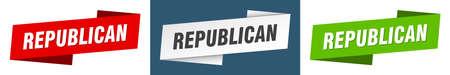 republican ribbon label sign set. republican banner