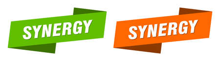 synergy ribbon label sign set. synergy banner