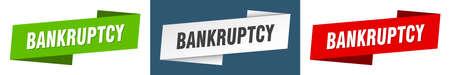 bankruptcy ribbon label sign set. bankruptcy banner Vektorové ilustrace