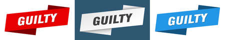 guilty ribbon label sign set. guilty banner