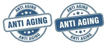 anti aging stamp. anti aging sign. round grunge label