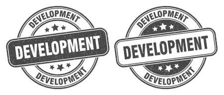 development stamp. development sign. round grunge label