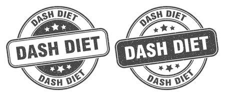 dash diet stamp. dash diet sign. round grunge label 矢量图像