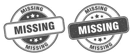 missing stamp. missing sign. round grunge label 矢量图像