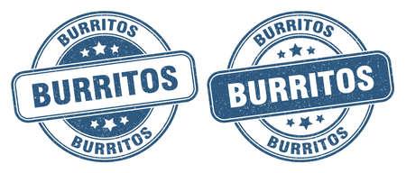 burritos stamp. burritos sign. round grunge label