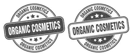 organic cosmetics stamp. organic cosmetics sign. round grunge label 矢量图像