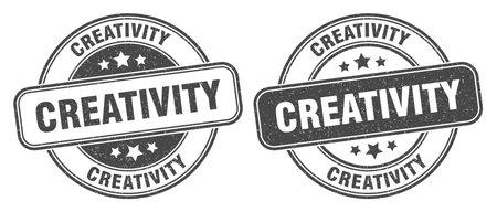 creativity stamp. creativity sign. round grunge label