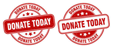 donate today stamp. donate today sign. round grunge label 矢量图像