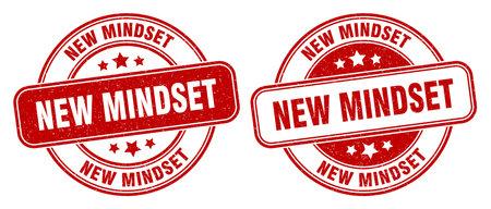 new mindset stamp. new mindset sign. round grunge label