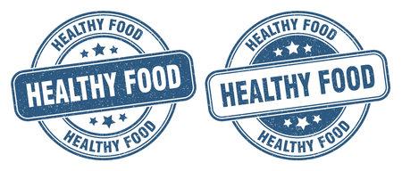 healthy food stamp. healthy food sign. round grunge label