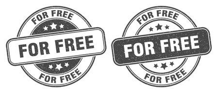 for free stamp. for free sign. round grunge label Illustration