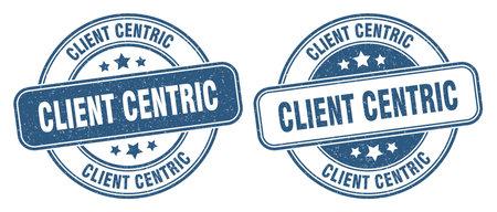 client centric stamp. client centric sign. round grunge label 矢量图像