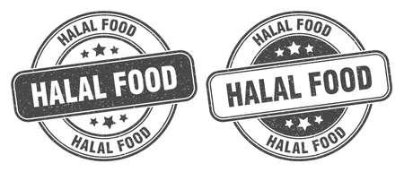 halal food stamp. halal food sign. round grunge label 矢量图像