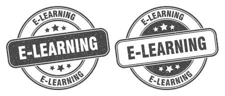 e-learning stamp. e-learning sign. round grunge label