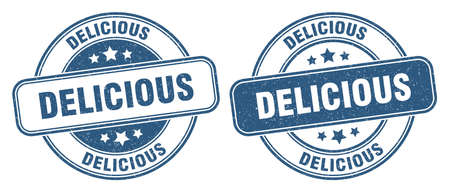 delicious stamp. delicious sign. round grunge label 矢量图像