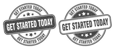 get started today stamp. get started today sign. round grunge label 矢量图像