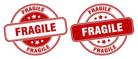 fragile stamp. fragile sign. round grunge label