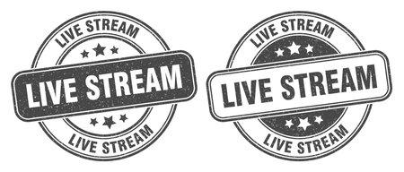 live stream stamp. live stream sign. round grunge label 矢量图像