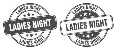 ladies night stamp. ladies night sign. round grunge label