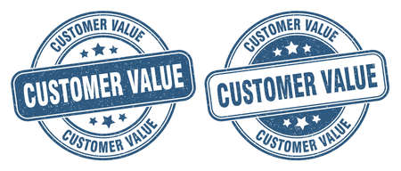 customer value stamp. customer value sign. round grunge label 矢量图像