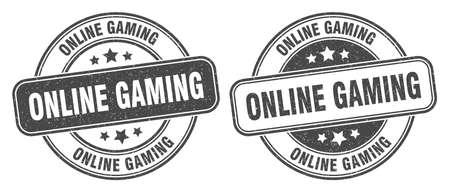online gaming stamp. online gaming sign. round grunge label 矢量图像