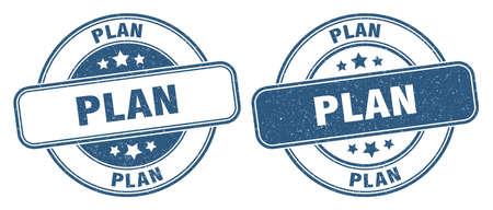 plan stamp. plan sign. round grunge label
