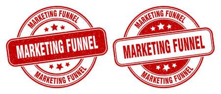 marketing funnel stamp. marketing funnel sign. round grunge label