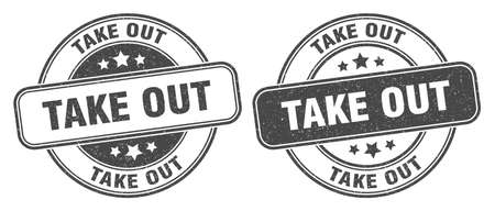 take out stamp. take out sign. round grunge label Vecteurs