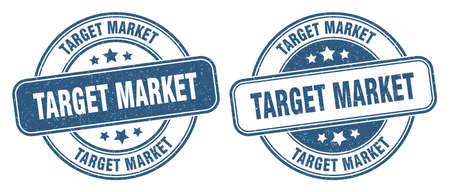 target market stamp. target market sign. round grunge label