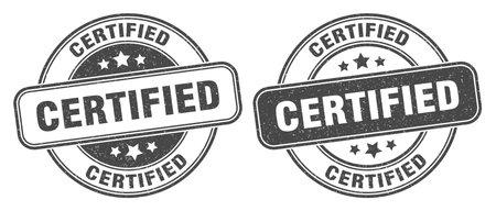 certified stamp. certified sign. round grunge label
