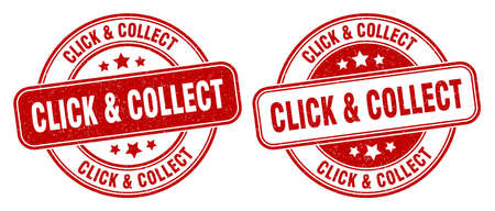 click & collect stamp. click & collect sign. round grunge label