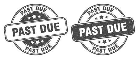 past due stamp. past due sign. round grunge label Vecteurs