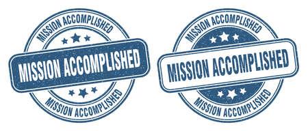 mission accomplished stamp. mission accomplished sign. round grunge label