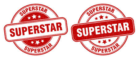 superstar stamp. superstar sign. round grunge label