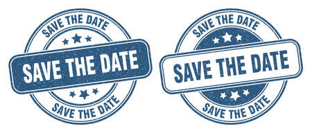save the date stamp. save the date sign. round grunge label