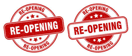 re-opening stamp. re-opening sign. round grunge label Stock Photo
