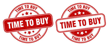 time to buy stamp. time to buy sign. round grunge label Stock Photo