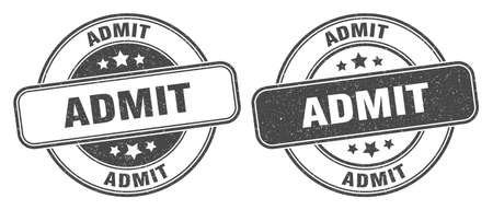 admit stamp. admit sign. round grunge label 矢量图像