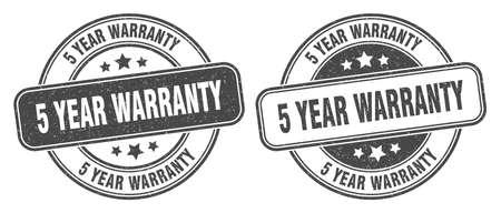 5 year warranty stamp. 5 year warranty sign. round grunge label