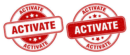 activate stamp. activate sign. round grunge label