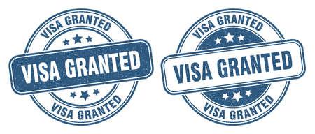 visa granted stamp. visa granted sign. round grunge label