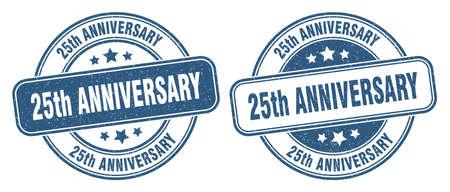25th anniversary stamp. 25th anniversary sign. round grunge label