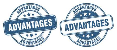 advantages stamp. advantages sign. round grunge label