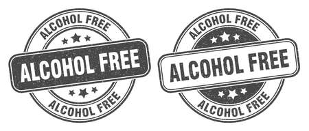 alcohol free stamp. alcohol free sign. round grunge label