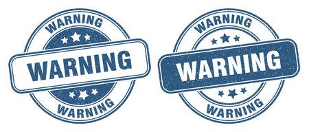 warning stamp. warning sign. round grunge label