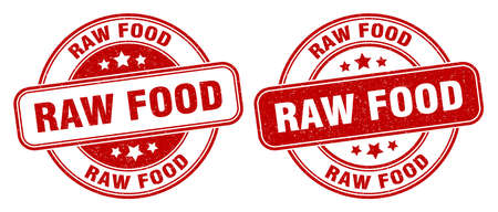 raw food stamp. raw food sign. round grunge label