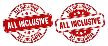 all inclusive stamp. all inclusive sign. round grunge label 矢量图像