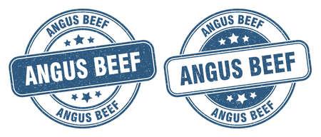 angus beef stamp. angus beef sign. round grunge label 矢量图像