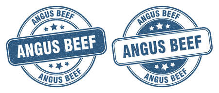 angus beef stamp. angus beef sign. round grunge label Illustration